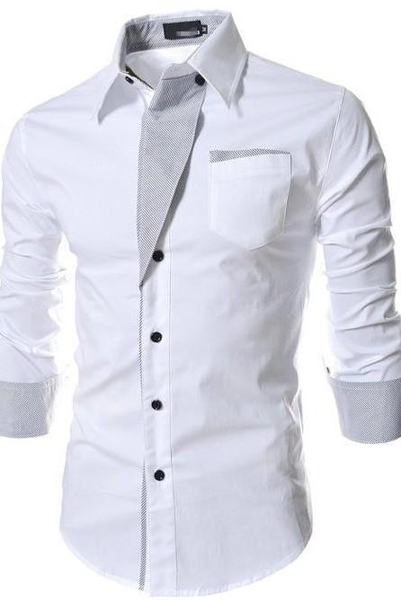 Men Shirt Spring Autumn Turn-down Collar Single Breasted Long Sleeve Casual Slim Fit Male Shirt off white