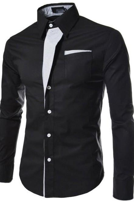 Men Shirt Spring Autumn Turn-down Collar Single Breasted Long Sleeve Casual Slim Fit Male Shirt black