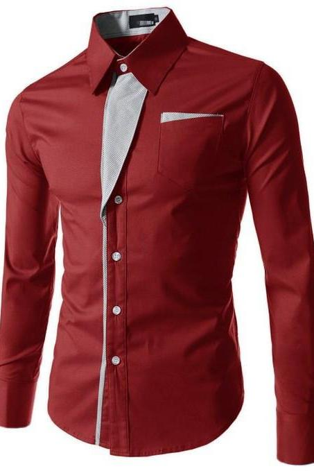 Men Shirt Spring Autumn Turn-down Collar Single Breasted Long Sleeve Casual Slim Fit Male Shirt crimson