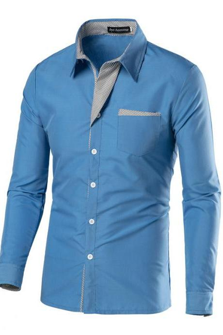 Men Shirt Spring Autumn Turn-down Collar Single Breasted Long Sleeve Casual Slim Fit Male Shirt light blue