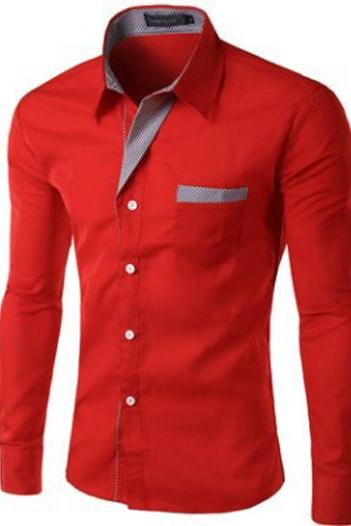 Men Shirt Spring Autumn Turn-down Collar Single Breasted Long Sleeve Casual Slim Fit Male Shirt red