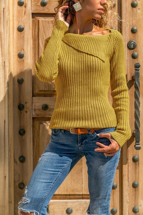 Women Knitted Sweater Autumn Winter Solid Long Sleeve Casual Pullover Tops yellow