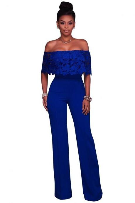 Women Jumpsuit Off the Shoulder Lace Top Strapless Wide Leg Rompers Overalls blue
