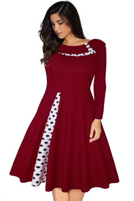 Women Polka Dot Patchwork Dress Long Sleeve Vintage Rockabilly A Line Formal Party Dress wine red