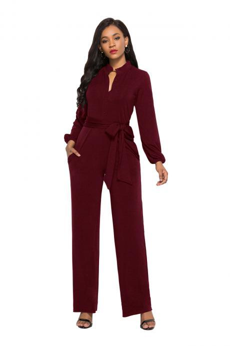 Women Wide Leg Jumpsuit Buttons Long Sleeve Streetwear Casual Loose Romper Overalls wine red