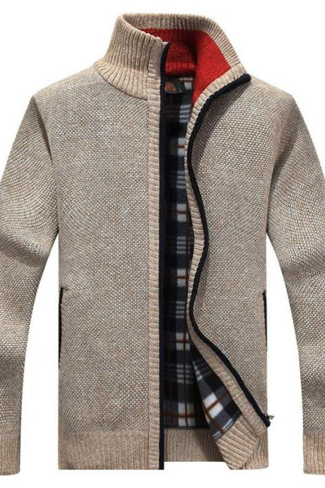Men Sweater Coat Autumn Winter Warm Thick Zipper Casual Fleece Knitted Cardigan Jacket beige