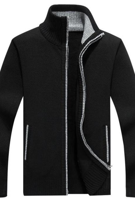 Men Sweater Coat Autumn Winter Warm Thick Zipper Casual Fleece Knitted Cardigan Jacket black