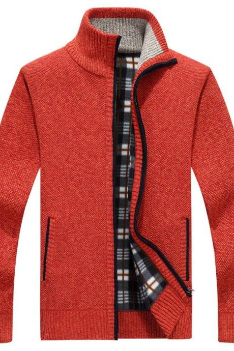 Men Sweater Coat Autumn Winter Warm Thick Zipper Casual Fleece Knitted Cardigan Jacket red