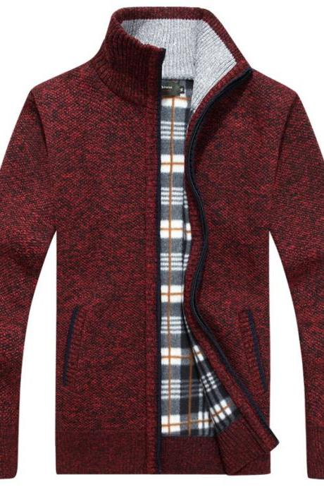 Men Sweater Coat Autumn Winter Warm Thick Zipper Casual Fleece Knitted Cardigan Jacket wine red