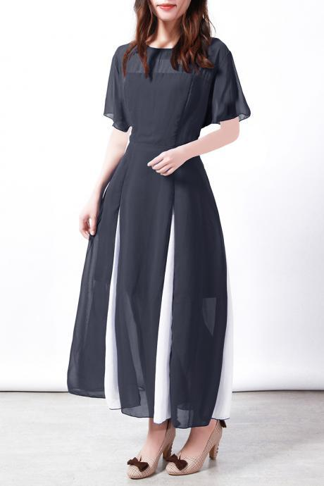 Women Maxi Dress Short Sleeve Patchwork Summer Casual Chiffon Long Dress black