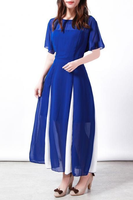Women Maxi Dress Short Sleeve Patchwork Summer Casual Chiffon Long Dress royal blue
