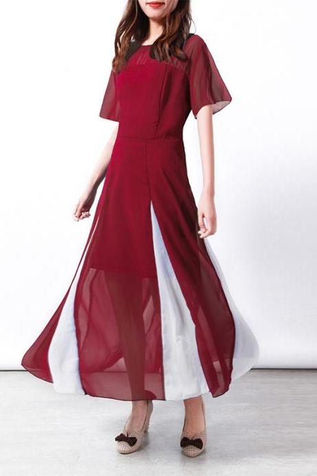Women Maxi Dress Short Sleeve Patchwork Summer Casual Chiffon Long Dress wine red