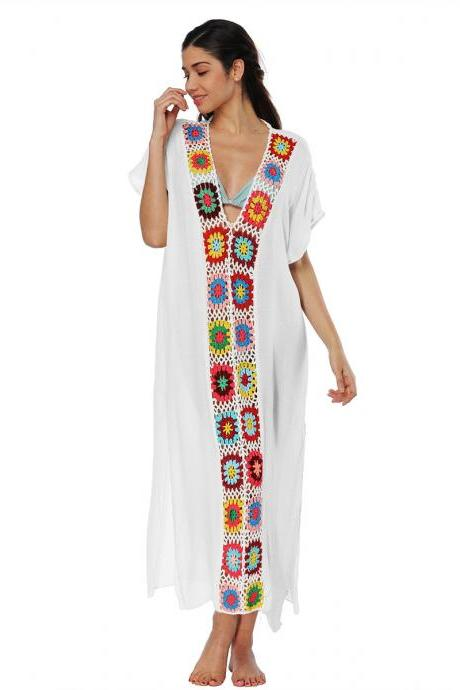 Women Summer Beach Dress V Neck Short Sleeve Patchwork Casual Loose Long Maxi Dress Beachwear off white