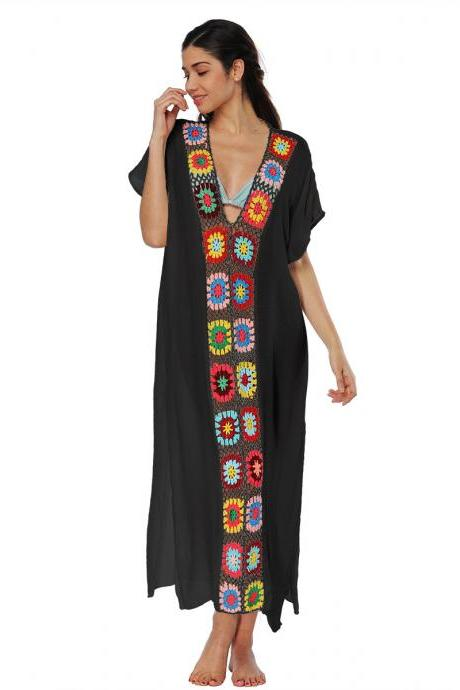 Women Summer Beach Dress V Neck Short Sleeve Patchwork Casual Loose Long Maxi Dress Beachwear black