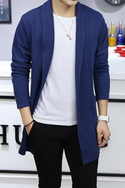 Men Sweater Coat Spring Autumn Long Sleeve Casual Slim Knitted Cardigan Jacket Outerwear royal blue