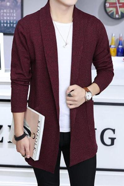 Men Sweater Coat Spring Autumn Long Sleeve Casual Slim Knitted Cardigan Jacket Outerwear wine red