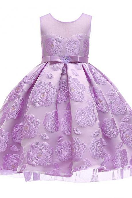 Floral Flower Girl Dress Princess Wedding Formal Birthday Party Tutu Gown Children Clothes lilac