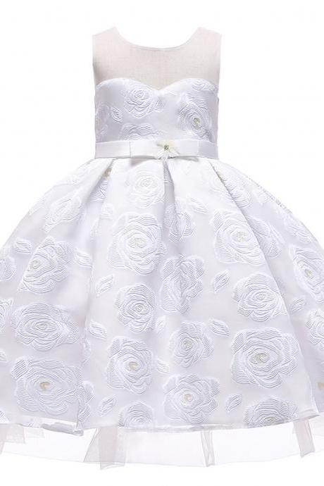 Floral Flower Girl Dress Princess Wedding Formal Birthday Party Tutu Gown Children Clothes off white