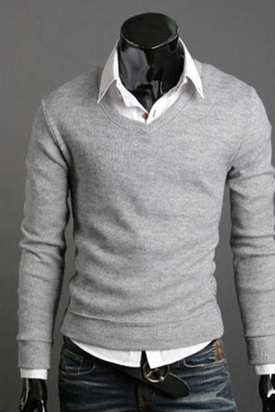 Men Knitwear Sweater Spring Autumn V Neck Long Sleeve Jumpers Casual Slim Pullover Tops gray