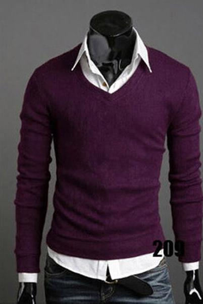 Men Knitwear Sweater Spring Autumn V Neck Long Sleeve Jumpers Casual Slim Pullover Tops purple