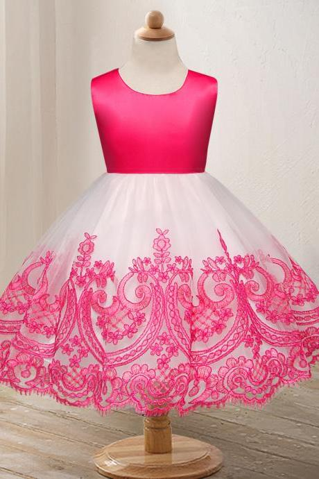 Embroidery Lace Flower Girl Dress Princess Wedding Formal Party Birthday Ball Grown Children Clotheshot pink