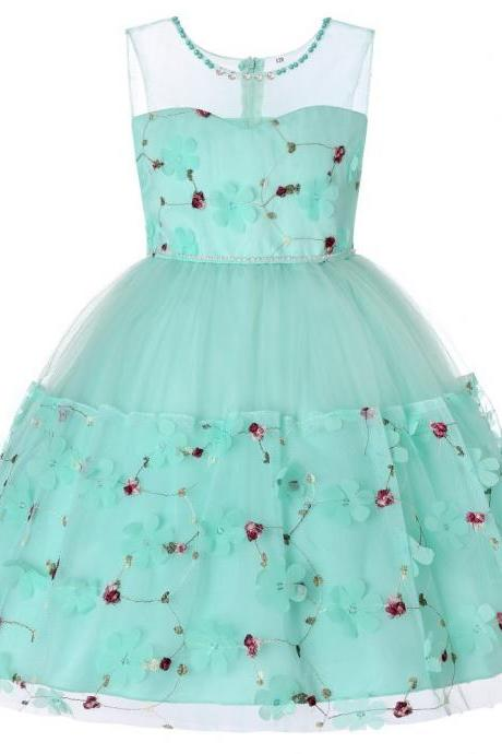 Princess Flower Girl Dress Sleeveless Formal Birthday Perform Party Tutu Gown Children Kids Clothes aqua