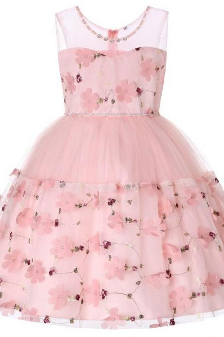 Princess Flower Girl Dress Sleeveless Formal Birthday Perform Party Tutu Gown Children Kids Clothes pink