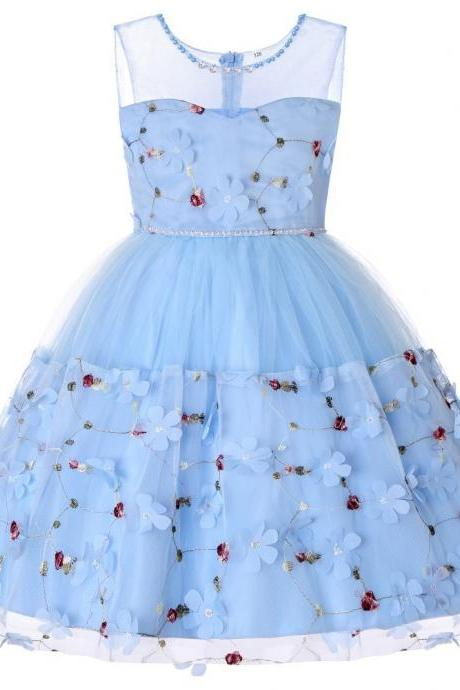 Princess Flower Girl Dress Sleeveless Formal Birthday Perform Party Tutu Gown Children Kids Clothes sky blue