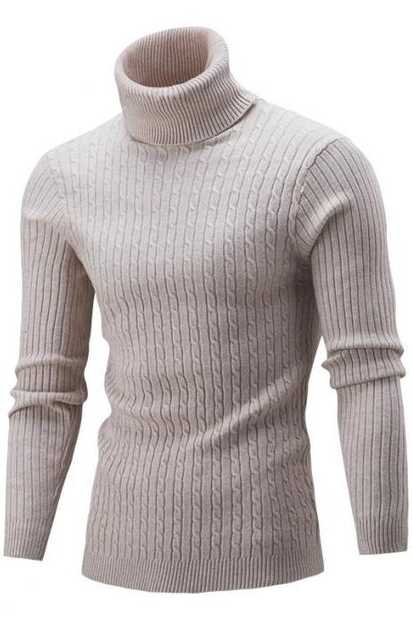 Men Sweater Autumn Winter Turtleneck Long Sleeve Casual Slim Fit Knitted Pullover Tops beige
