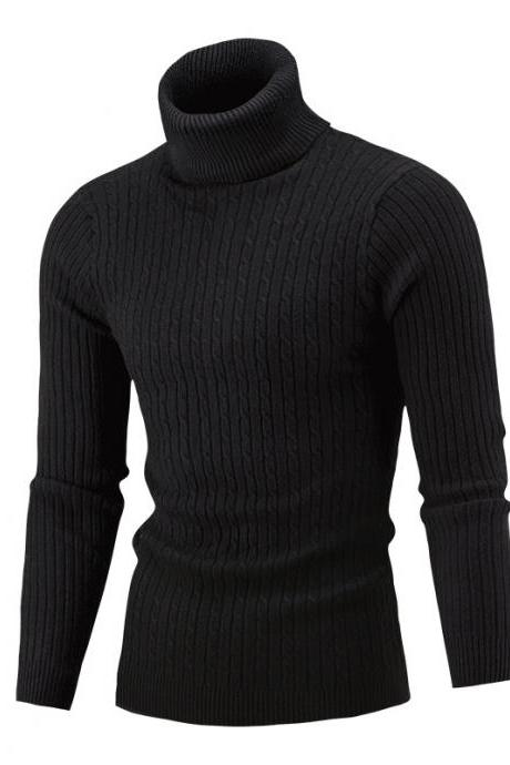 Men Sweater Autumn Winter Turtleneck Long Sleeve Casual Slim Fit Knitted Pullover Tops black