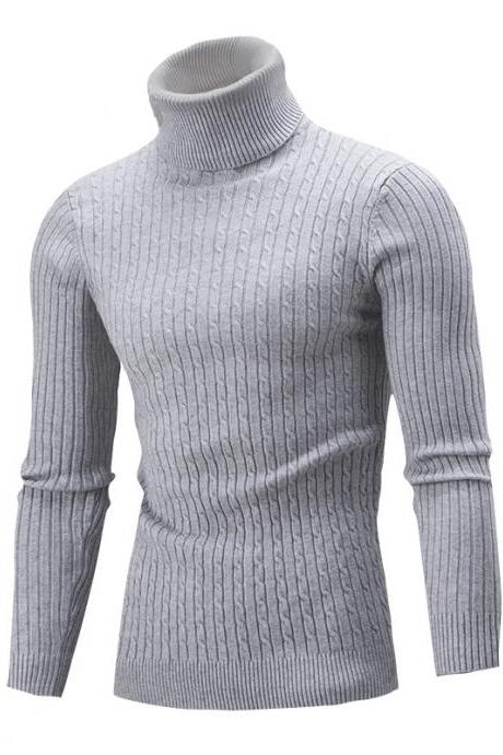 Men Sweater Autumn Winter Turtleneck Long Sleeve Casual Slim Fit Knitted Pullover Tops gray