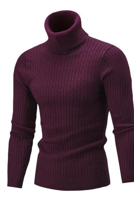 Men Sweater Autumn Winter Turtleneck Long Sleeve Casual Slim Fit Knitted Pullover Tops wine red