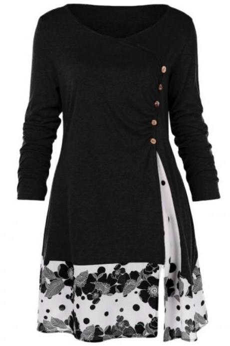 Women Long Sleeve T Shirt Spring Autumn Floral Patchwork Button Plus Size Casual Loose Tops black