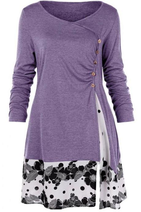 Women Long Sleeve T Shirt Spring Autumn Floral Patchwork Button Plus Size Casual Loose Tops lavender
