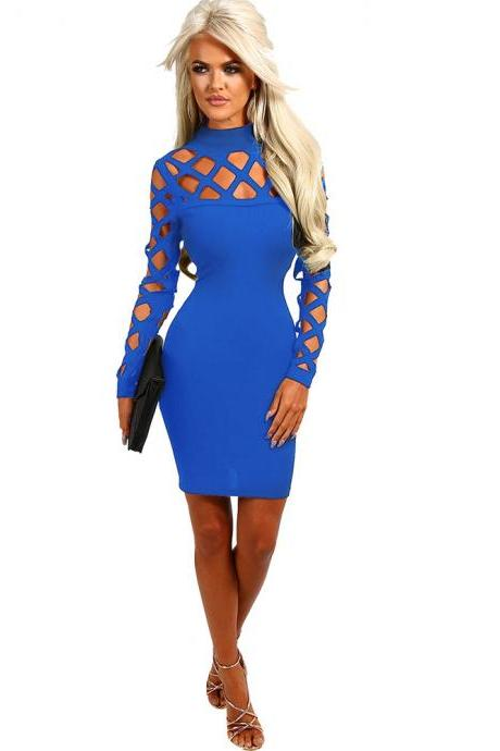 Women Bandage Dress Long Sleeve Hollow Out Bodycon Mini Club Pencil Party Dress royal blue