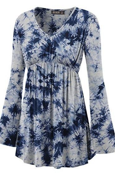 Women Floral Printed Tunic Tops Spring Autumn Flare Sleeve V-Neck Casual Plus Size T Shirt white+blue