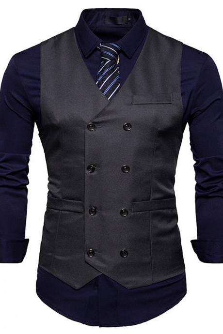 Men Suit Waistcoat Double Breasted Slim Fit Vest Wedding Business Casual Sleeveless Coat dark gray