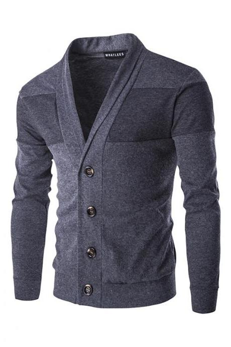 Men Cardigan Spring Autumn Single Breasted Long Sleeve Slim Fit Casual Sweater Coat dark gray