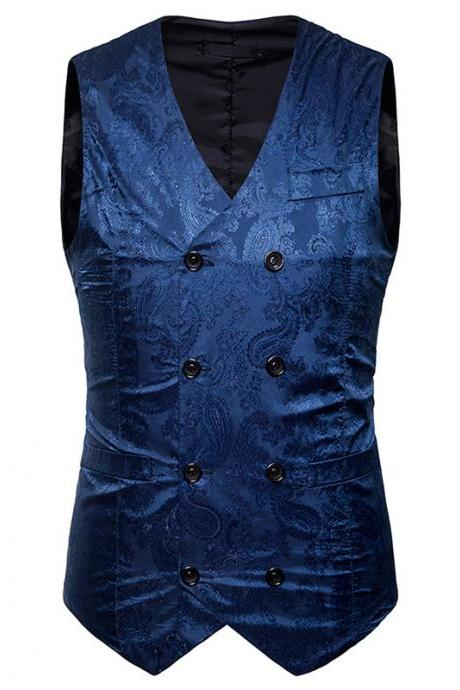 Men Floral Printed Waistcoat Double Breasted Vest Slim Sleeveless Casual Business Formal Suit Coat blue