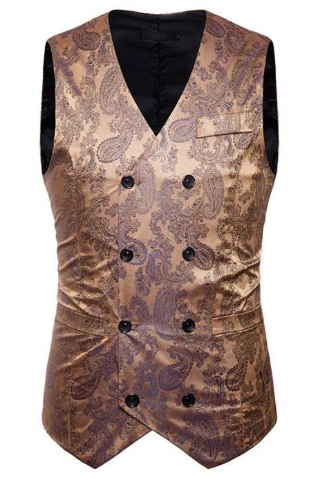 Men Floral Printed Waistcoat Double Breasted Vest Slim Sleeveless Casual Business Formal Suit Coat gold