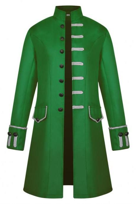 Men Uniform Trench Coat Vintage Steampunk Punk Middle Ages Long Sleeve Jacket Outwear green