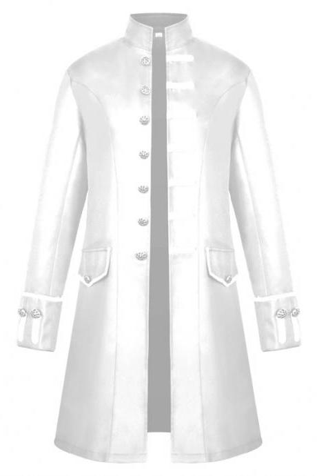 Men Uniform Trench Coat Vintage Steampunk Punk Middle Ages Long Sleeve Jacket Outwear off white