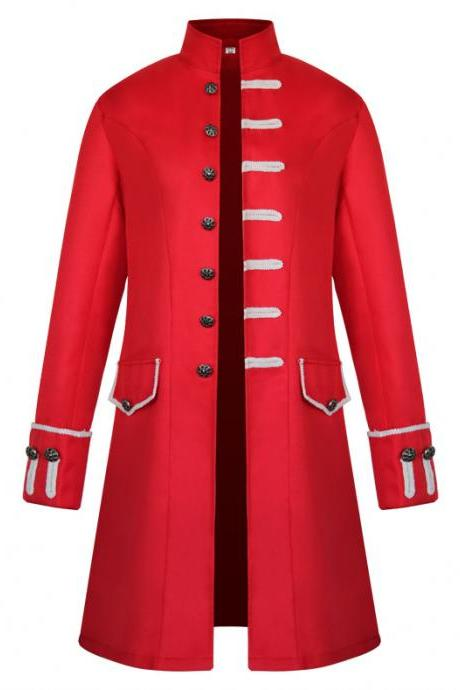 Men Uniform Trench Coat Vintage Steampunk Punk Middle Ages Long Sleeve Jacket Outwear red