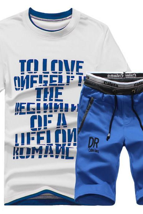 Men Tracksuit Summer Short Sleeve T Shirt+Shorts Casual Fitness Sporting Suit Two Pieces Set blue