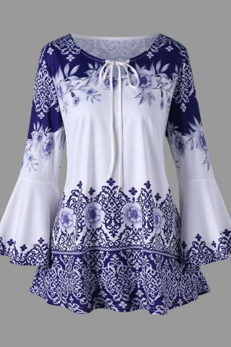 Women Floral Printed T Shirt Spring Autumn Long Flare Sleeve Casual Loose Plus Size Tops Blouse blue