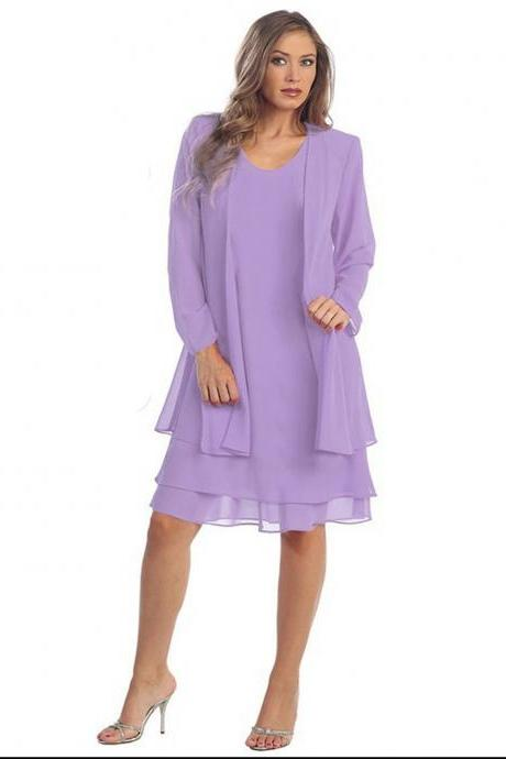 Women Chiffon Midi Dress Plus size Long Sleeve Casual Loose Two Pieces Dress lilac