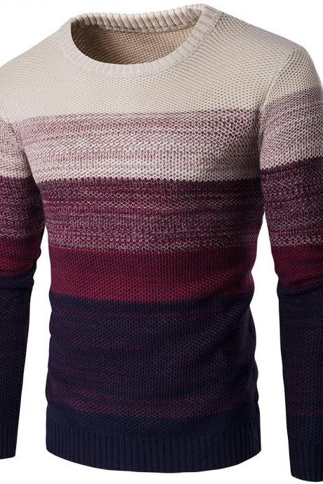 Men Knitted Sweater O Neck Striped Patchwork Casual Long Sleeve Slim Fit Pullover Tops red