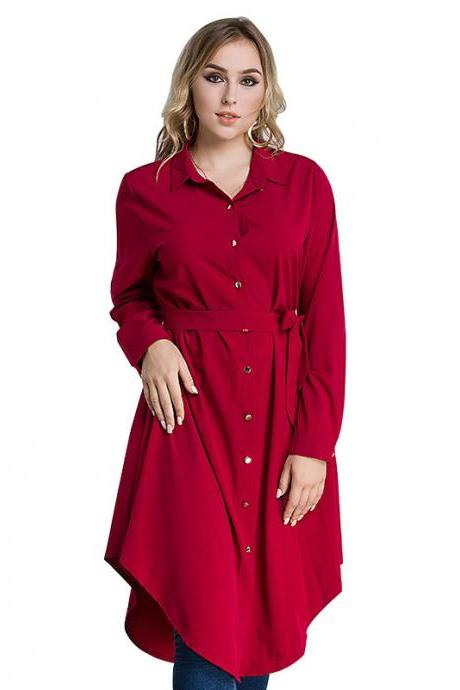 Plus Size Women Shirt Dress Long Sleeve Belted Work Office Midi Casual Asymmetrical Dress red