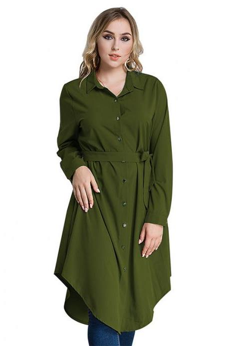 Plus Size Women Shirt Dress Long Sleeve Belted Work Office Midi Casual Asymmetrical Dress army green