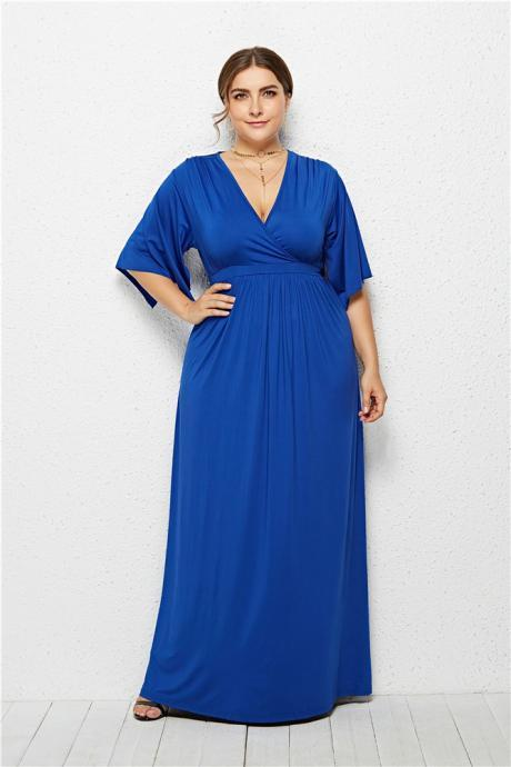 Plus Size Women Maxi Dress V Neck Half Sleeve Casual Long Formal Evening Gowns royal blue